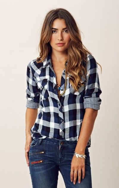 Kendra flannel button down | Flannel shirt outfit, Plaid shirt .