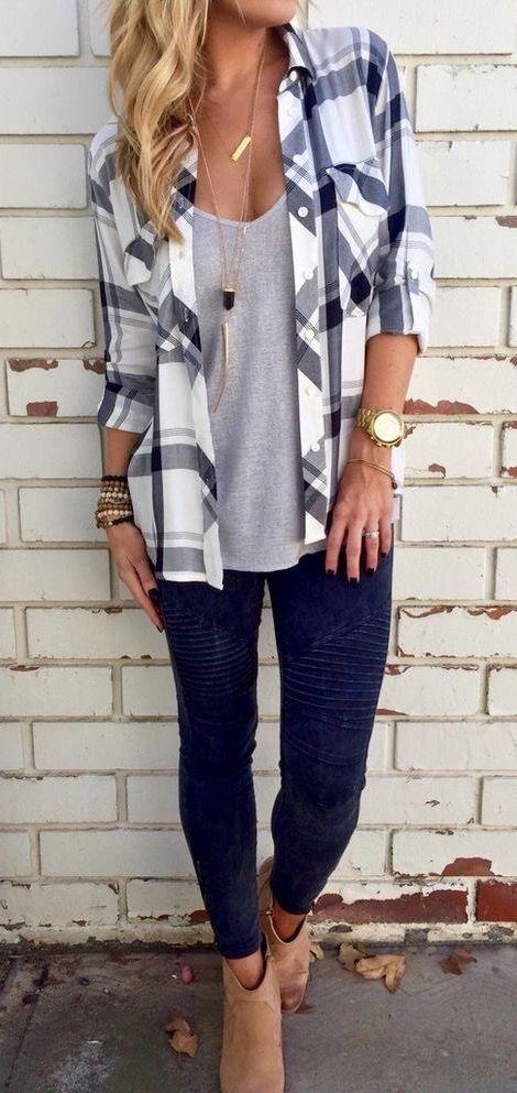 Blue jeans plaid shirt | Casual fall outfits, Fashion, Cute outfi