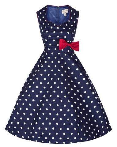 Blue and White Polka Dot Vintage Dress with Red Bow | Vintage .