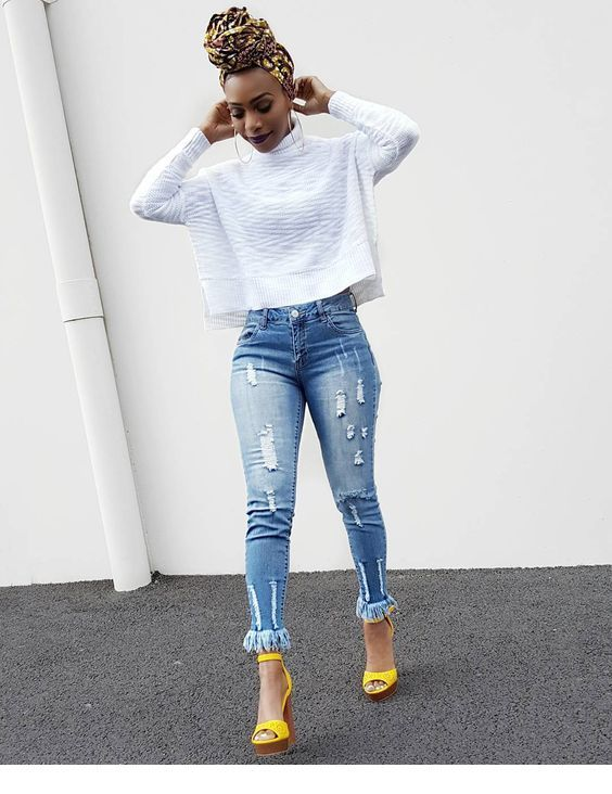 White blouse, blue jeans and yellow sandals | Casual outfits for .