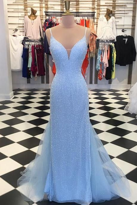 Sparkly Sequins Blue Mermaid Long Prom Dress #promshoessparkly .