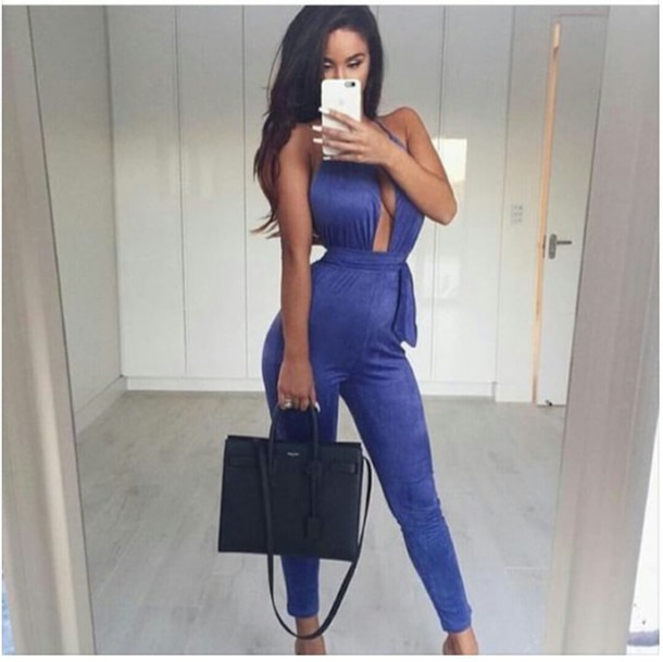 jumpsuit, royal blue, suede, overtheshoulder, one piece, blue .