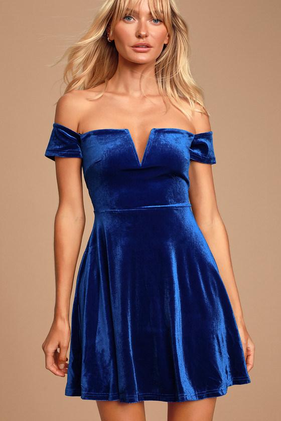 Luxe Velvet Dress - Royal Blue Skater Dress - OTS Dress - Dre