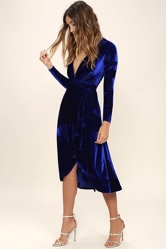 Enchant Me Cobalt Blue Velvet Midi Wrap Dress | Trendy dresses .