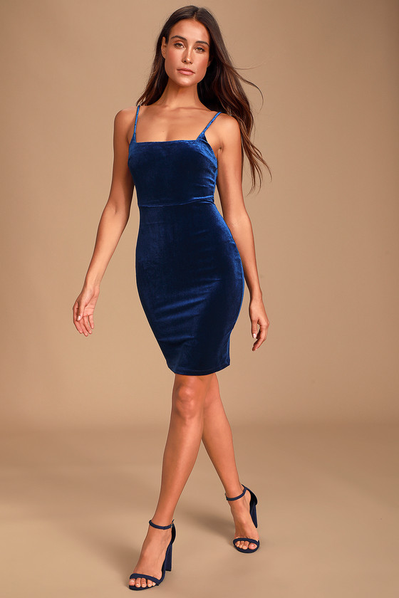 Sexy Royal Blue Velvet Dress - Square Neck Dress - Bodycon Mi