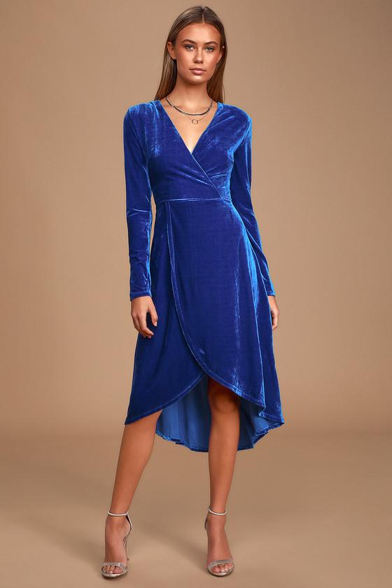 Glam Velvet Dress - Cobalt Blue Velvet Dress - Blue Midi Dre