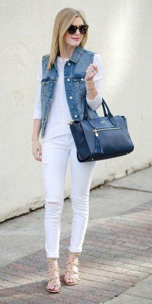 Medium blue denim vests | Vest outfits, Sleeveless denim jackets .