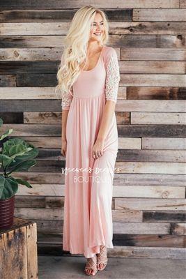 Blush Pink Crochet Maxi Dress, Modest Dress, Bridesmaids Dress .