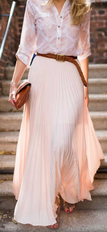 Latest fashion trends: Street style   Pale blouse, brown belt and .