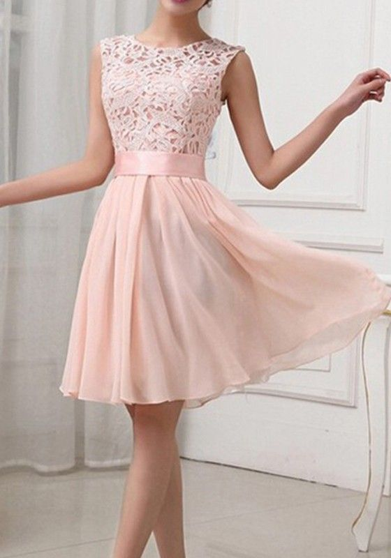 Light Pink Patchwork Lace Hollow-out Bandage Bodycon Sexy Prom .