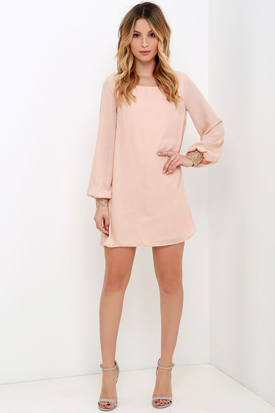 Guiding Light Blush Long Sleeve Shift Dress | Shift dress outfit .