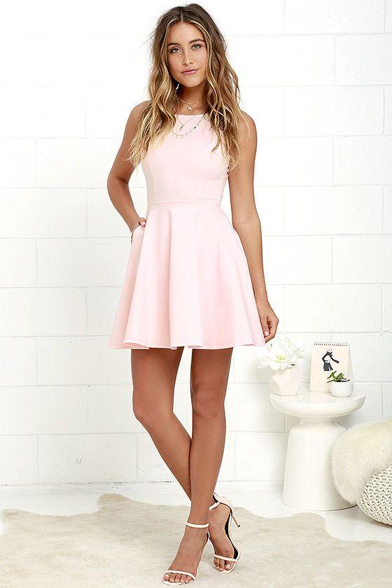 Wanderlust Blush Pink Skater Dressat Lulus.com! | Pink skater dre
