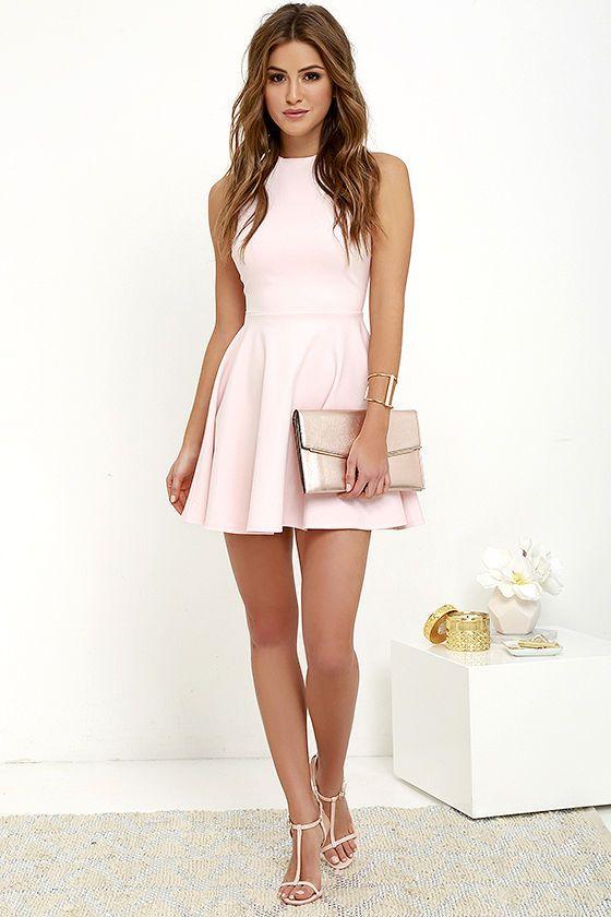 Fun-Loving Light Pink Skater Dress | Pink dress outfits, Short .