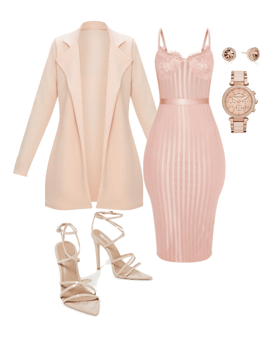 Rose Gold #rosegold #dress #pinkjacket #pinkdress #jacket #coat .