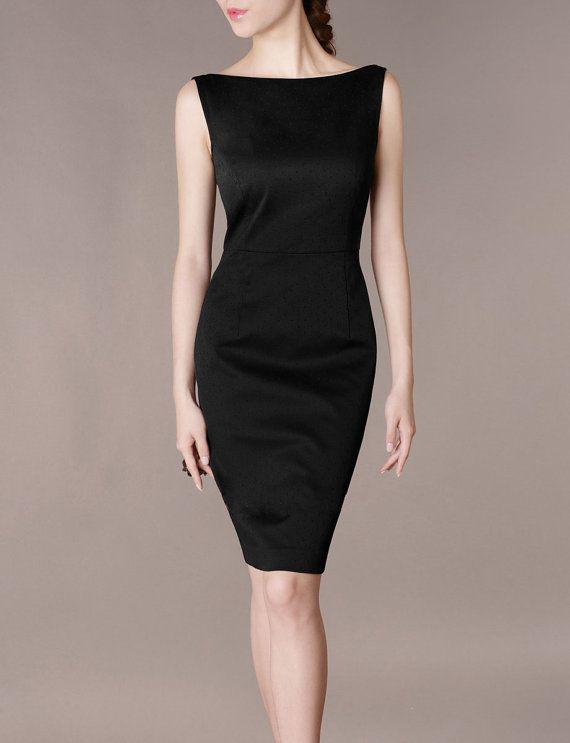 Formal Concert Black Dress Elegant Slim Boat Neck Sleeveless Black .