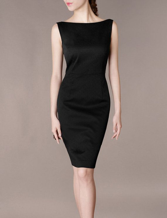 Formal Concert Black Dress Elegant Slim Boat Neck Sleeveless Black .