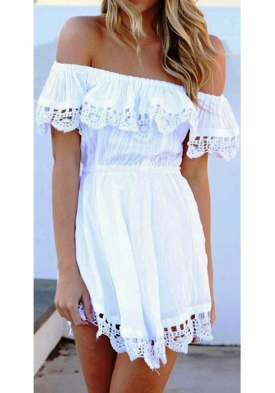 White Plain Lace Hollow-out Boat Neck Dress | Fashion, Girly .