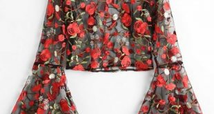 Up to 80% OFF! Flare Sleeve Floral Sheer Mesh Blouse. #Zaful #Tops .