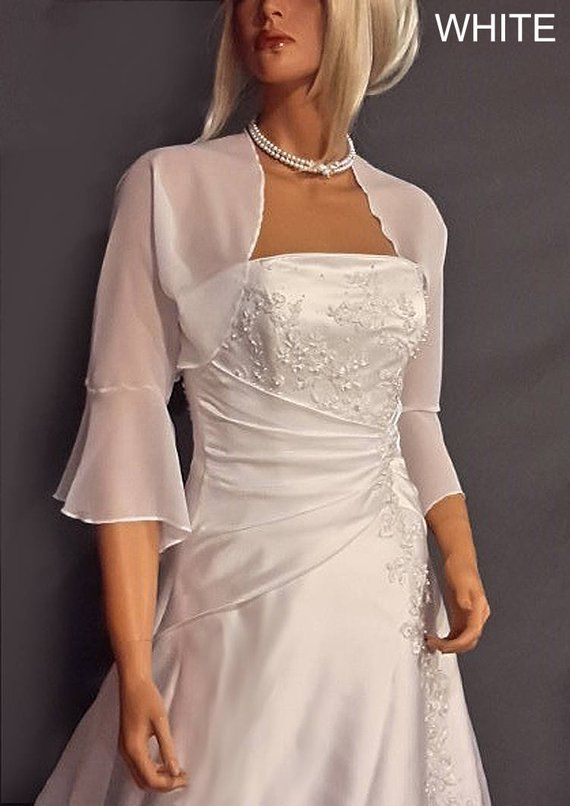 Chiffon bolero jacket 3/4 bell sleeve shrug wedding wrap bridal .