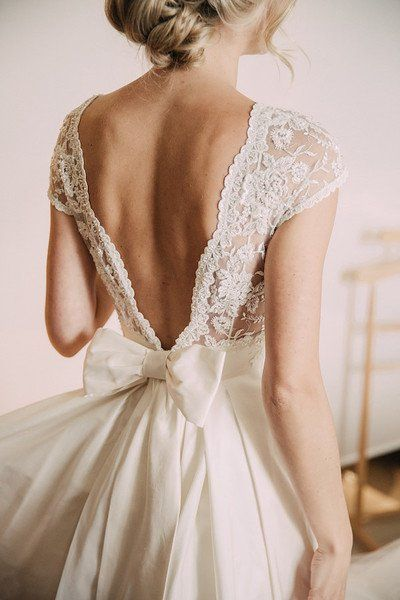 Romantic wedding dress idea - deep v-back wedding dress with lace .