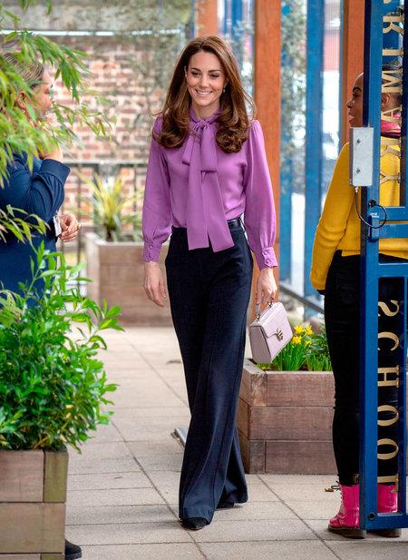 Kate Middleton Wears Pussy Bow Blouse, Hair Like Lisa Vanderpump .