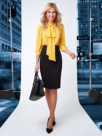 NY&C: Twofer Bow Blouse Sheath Dress - 7th Aven