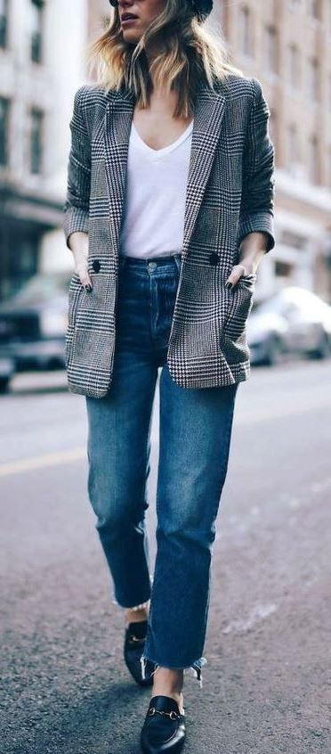 Magnetic outfit ideas for plaid boyfriend blazer, Glen plaid .
