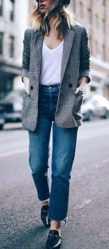 Magnetic outfit ideas for plaid boyfriend blazer, Glen plaid .