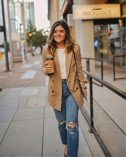 khaki blazer outfit ideas | fall jeans outfit ideas | boyfriend .