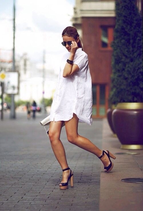 How To Wear A White Boyfriend Shirt | Fashion, Street style, Sty