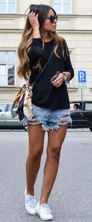 summer #fashion / black longsleeve top + denim short shorts .