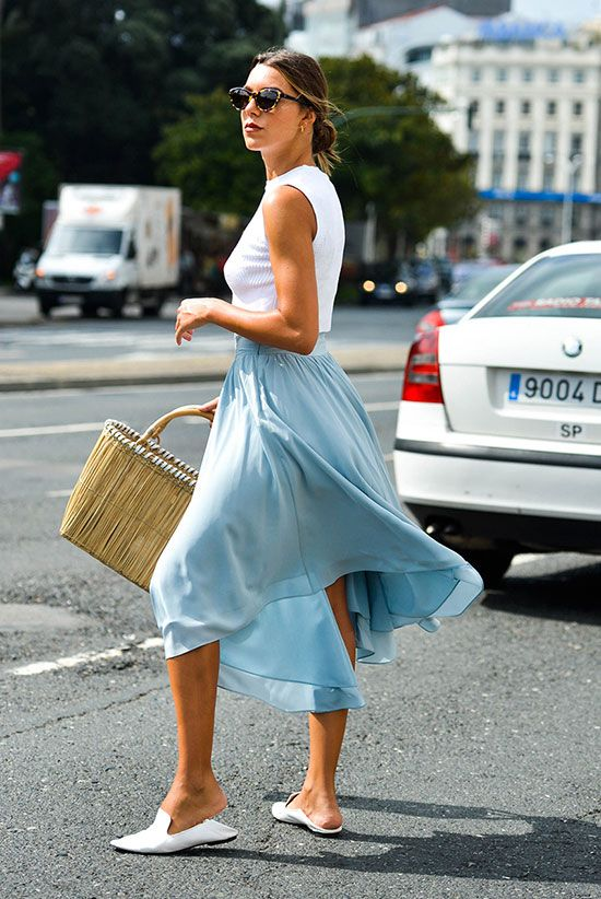 5 Breezy Midi Skirt Styles For A Hot Day | Hot weather outfits .