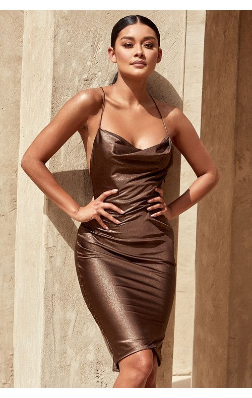 Clothing : Bodycon Dresses : 'Claudia' Bronze Satin Draped Slip .
