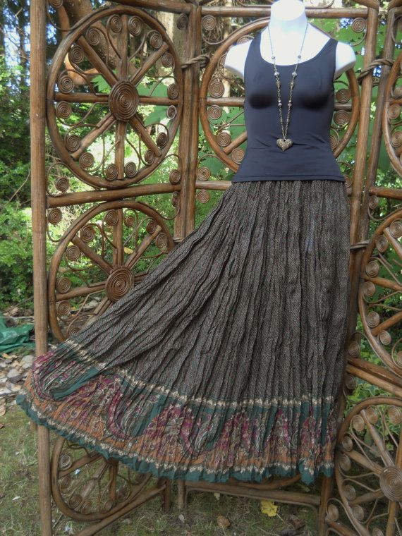 Olive drab border floral broomstick skirt size by LamplightGifts .