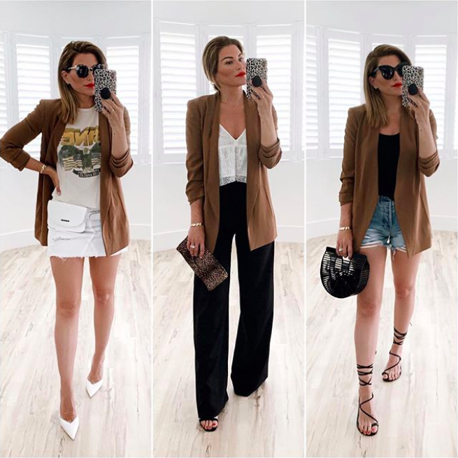 3 ways to wear a brown blazer, fashion blogger outfit ideas .