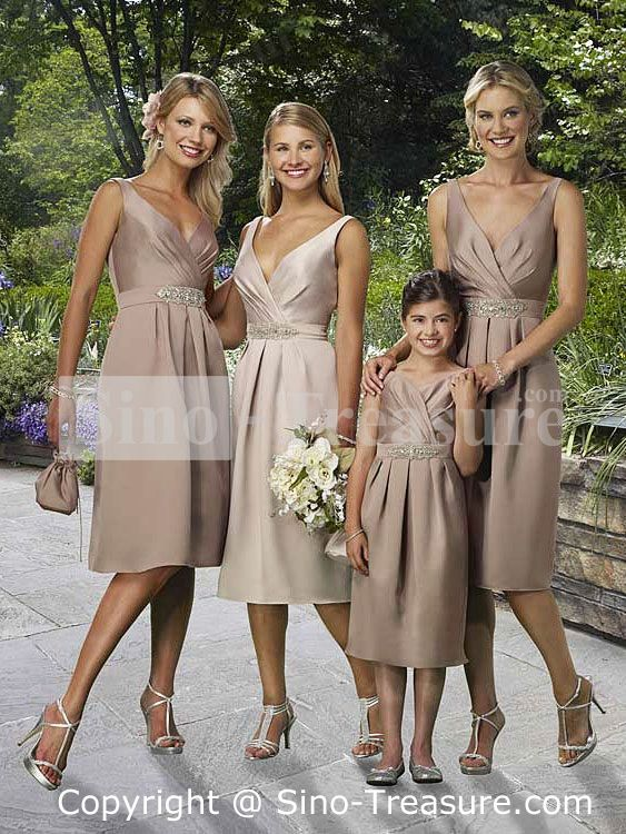 Light Brown V-neck Column Satin Tea Length Bridesmaid Dress .