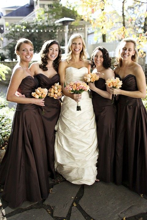 38 Cute Chocolate Brown Wedding Ideas | Brown bridesmaid dresses .