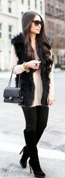 33 Best Black fur vest images | Black fur vest, Autumn fashion .