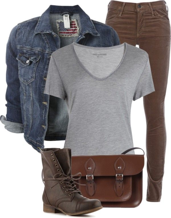 "Jean Jacket, Grey T-Shirt, and Brown Jeans"" by fashion-766 ."