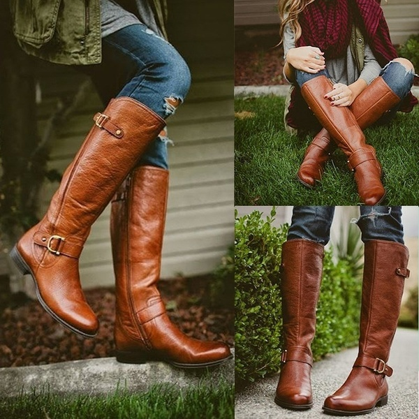 Winter Warm Women Knee High Boots Women Long Boots Flat Heels .