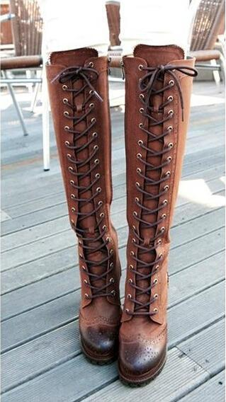 Western Style Knee High Boots Women Lace up Soft Leather Boots .