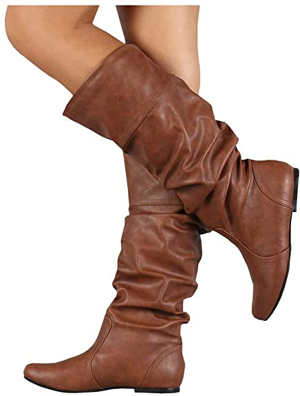 Amazon.com | LAICIGO Womens Wide Calf Boots Slouchy Knee High Flat .