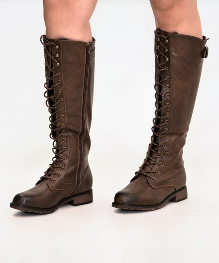 Mata Shoes Brown Lace-Up Front Ride Knee-High Boot | Zuli
