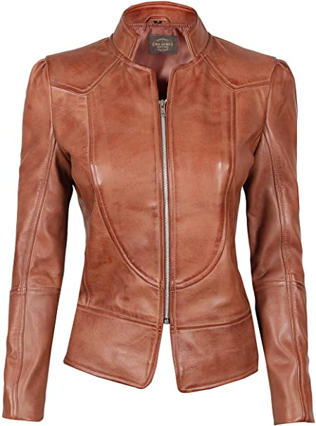 Blingsoul Womens Brown Leather Jacket - Motorcycle Real Leather .