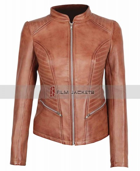Cognac Leather Jacket | Womens Brown Motocycle Jacket [SAVE 34