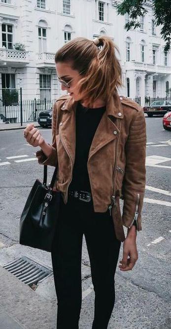 street style. suede brown jacket. black tee, denim. | Fashion .