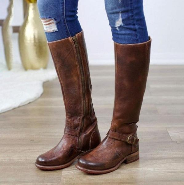 Women Vintage Leather Buckle Knee High Riding Boots – Kaa