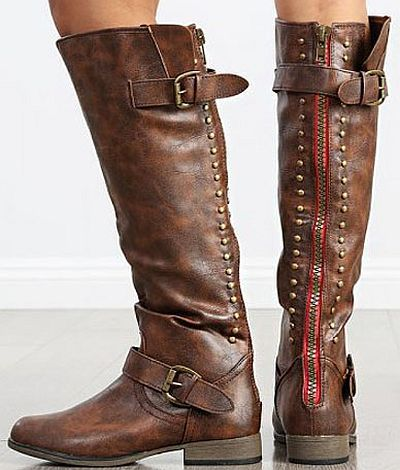 FIFI brown riding boots with zipper on back. These popular boots .