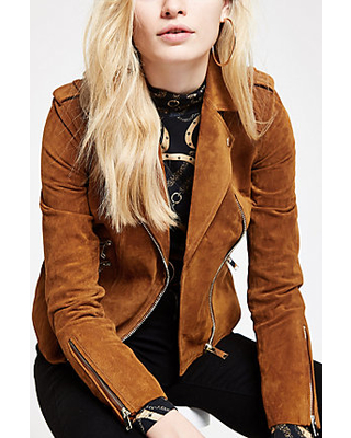 New Deal on River Island Womens Tan suede biker jack
