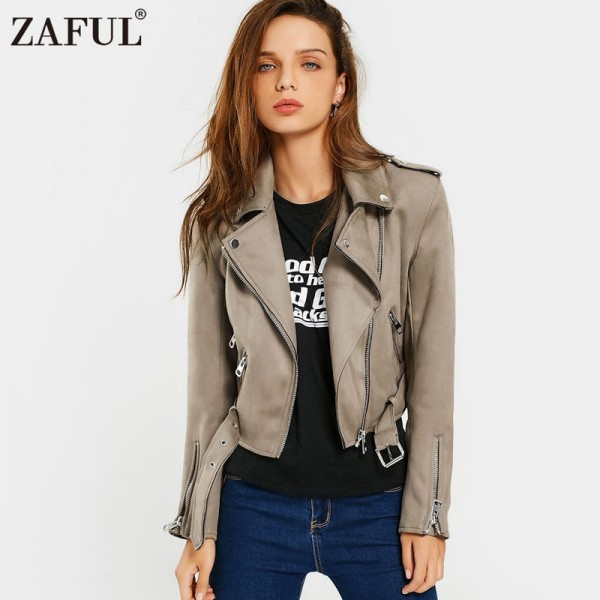 Buy Brown Women Faux Suede Jacket Slim PU Leather Coat Women Short .